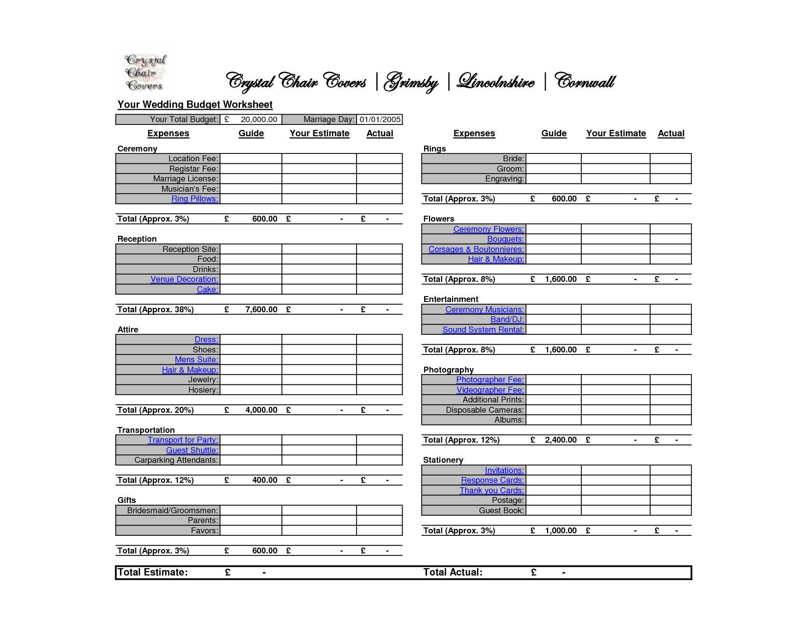 wedding budget planner spreadsheet uk - LAOBING KAISUO