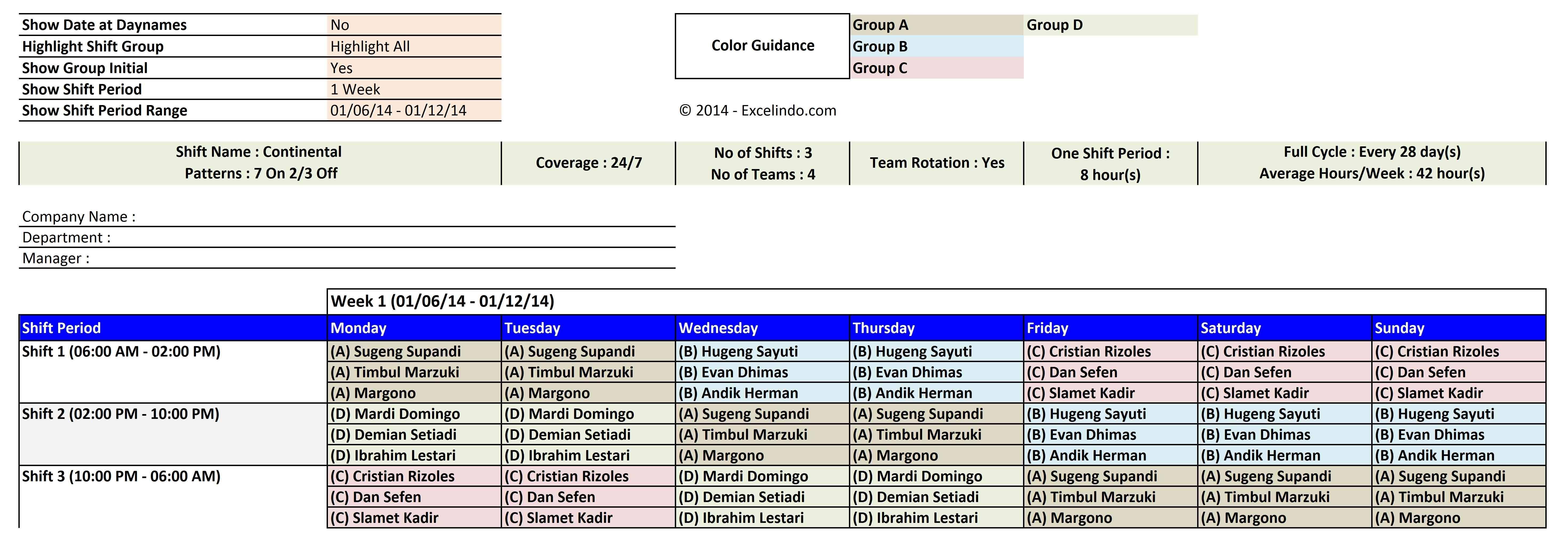 Employee Shift Scheduling Spreadsheet | LAOBING KAISUO