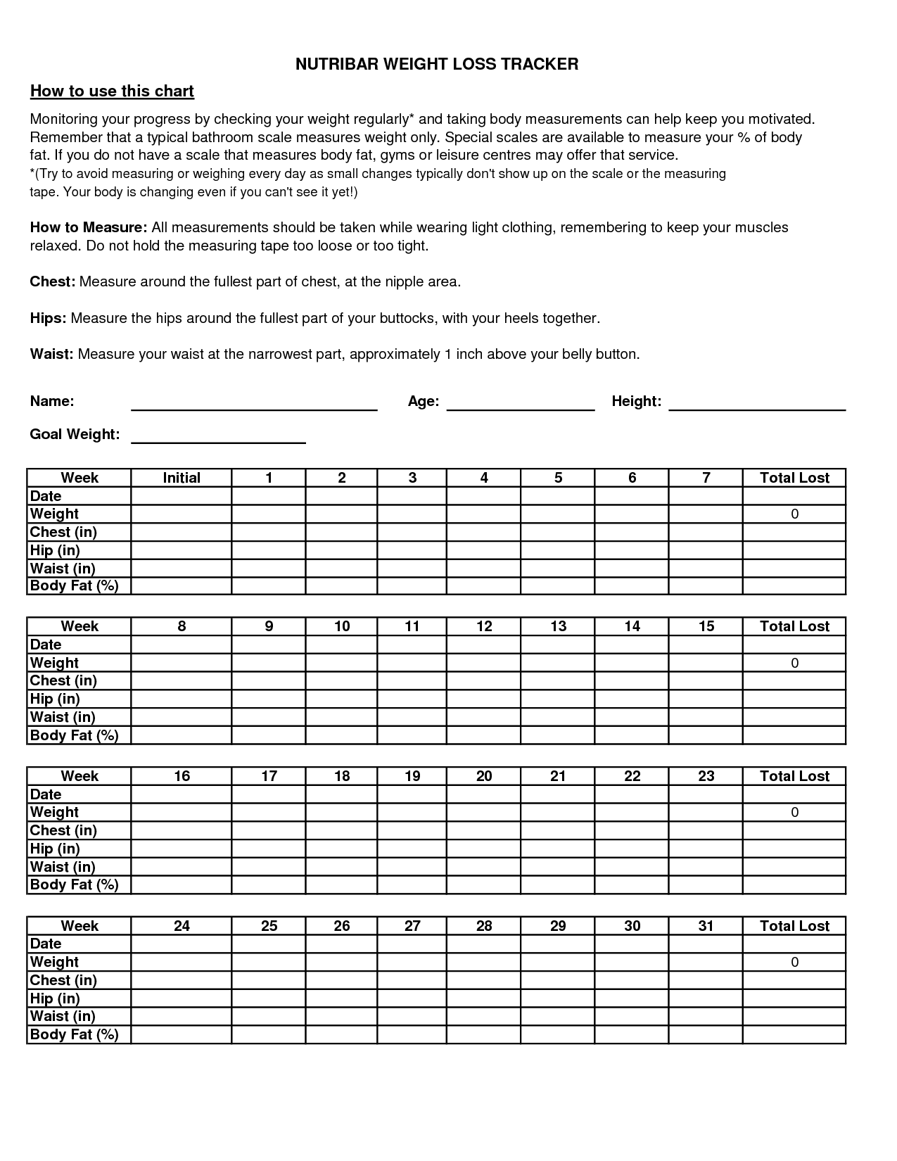 Weight Loss Tracking Worksheet