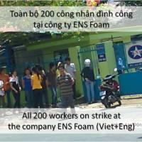 Bản Tin LĐV - Toàn bộ 200 công nhân đình công tại công ty ENS Foam I All 200 workers on strike at the company ENS Foam
