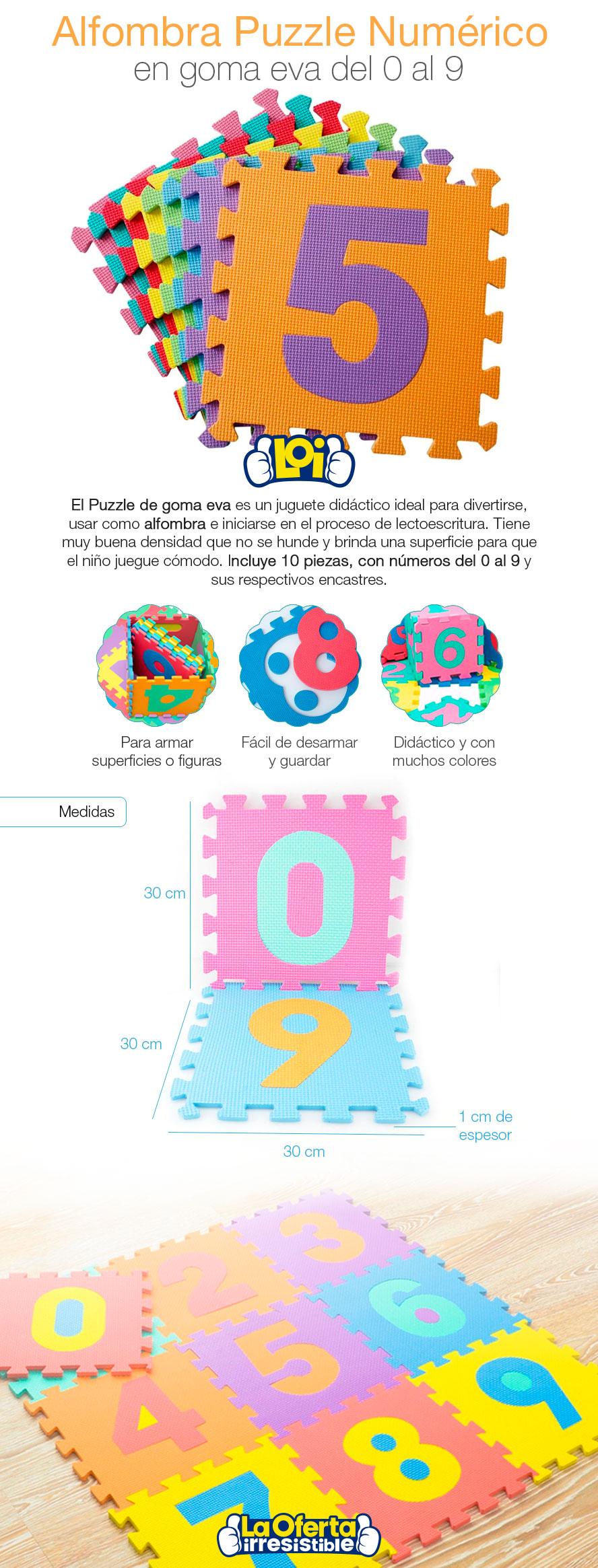 907836259f2 Alfombra Puzzle Numérico 10 Piezas Goma Eva Nueva 30x30cm 1cm De Espesor