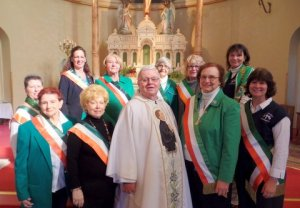 Pictured here are Allegheny County Division 11 members who attended the annual Memorial Mass for Deceased Members: front row L-R): Mary Ellen Myers, Catholic Action chair; Pat Tragesser, FFAI chair; Joy Short, mass coordinator; Fr. Harry Nichols, Pastor St. Stanislaus Kostka & St Patrick Parishes; Shirley Murphy, Vice President and PA State Historian; Shirley Sestric, Division President and Allegheny County FFAI chair. (Top Row L-R) Liz Rowland, Maggie Cloonan, Eileen Curran , Peggy Regan, Sentinel; and Marlea Gallagher