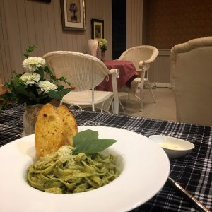 Pasta with Pesto at Laong's Bistro