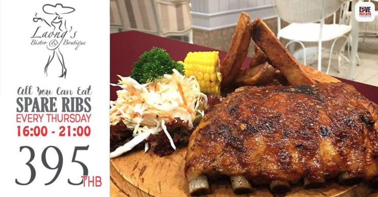 All You Can Eat Pork Ribs - Every Thursday at Laong's Bistro on Jomtien 2nd Road