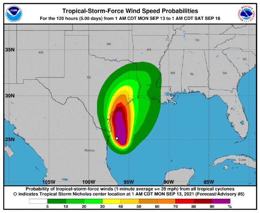 115300 - La tormenta tropical Nicholas, que podría convertirse en huracán, se acerca a Texas y el noroeste de México