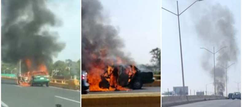 incendio en Taxi