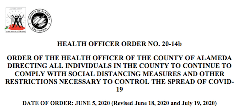 Revised: July 19th Health Officer Orders