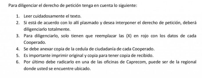 INSTRUCTIVO PARA DILIGENCIAR DERECHO DE PETICION CONTRA CAPRECOM