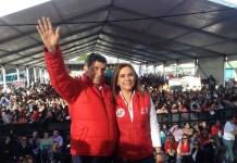 Martha Plata estuvo acompañada del cantante vallenato Silvestre Dangond en su cierre de campaña