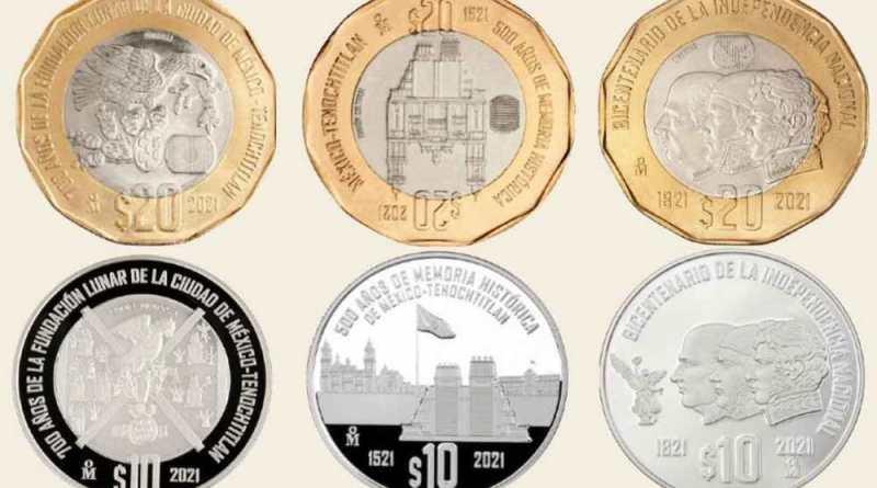 Nuevas monedas de 20 y 10 pesos