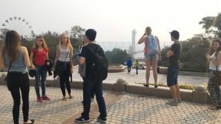 Park wandering toward bungee jumping
