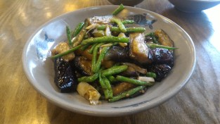 Eggplant and greenbeans