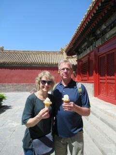 Enjoying an ice cream in the Forbidden City