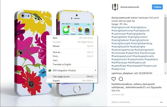 cara download gambar di instagram pc