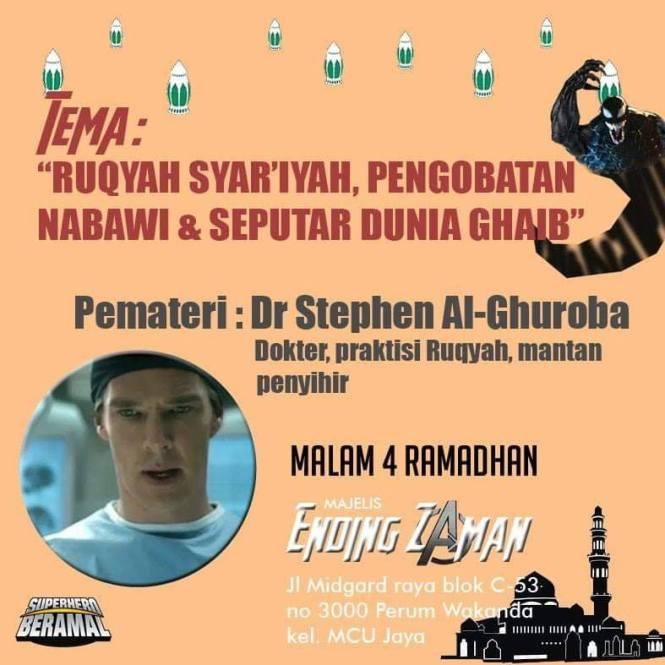 """Ruqyag Star""""iyah, Pengobatan Nabawi Dan Seputar Dunia Ghaib, Pematerinya Dr Stephen Al-Ghuroba, Dokter, praktisi ruqyah, mantan penyihir."""