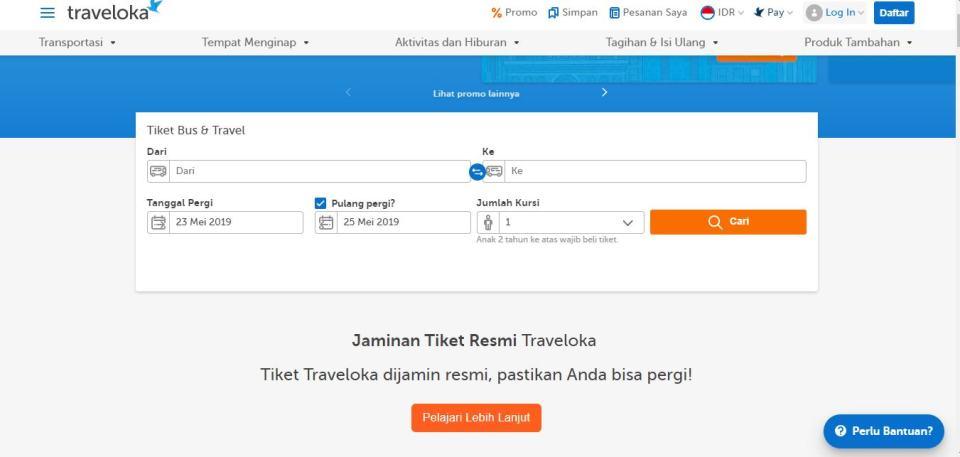 Cara beli tiket bus online di Traveloka