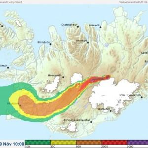 Island - Schwefeldioxidwolke - Gewalt eines Vulkan