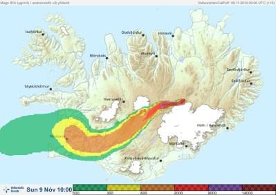 Island - Schwefeldioxidwolke