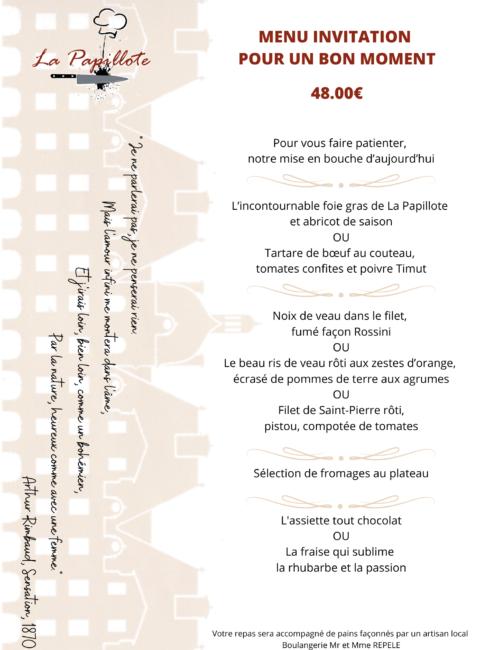 MENU INVITATION - 08-21