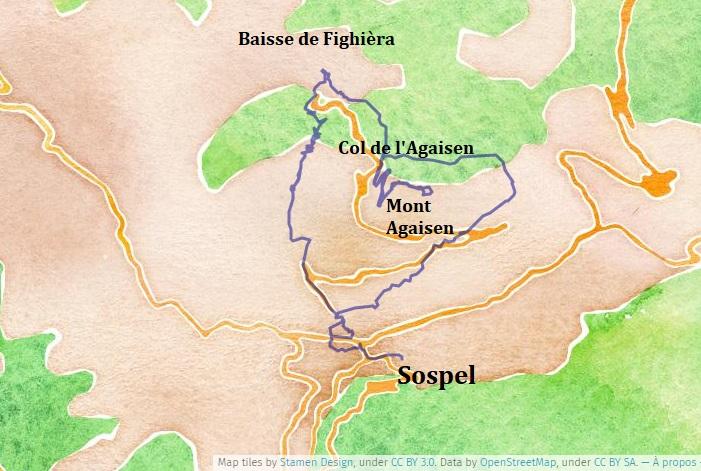 Itinéraire de Randonnée à Sospel au Mont Agaisen