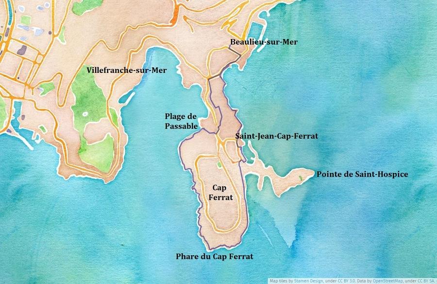 Itinéraire du Tour du Cap Ferrat
