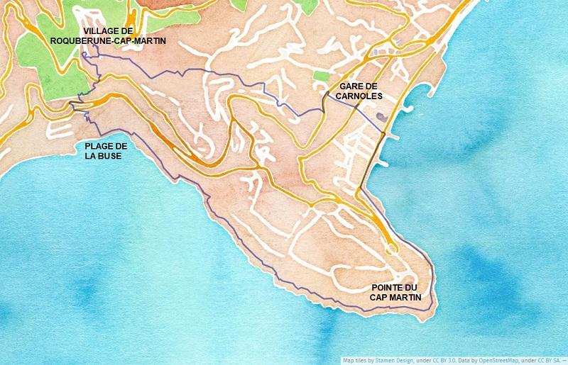 Itinéraire du tour du Cap Martin