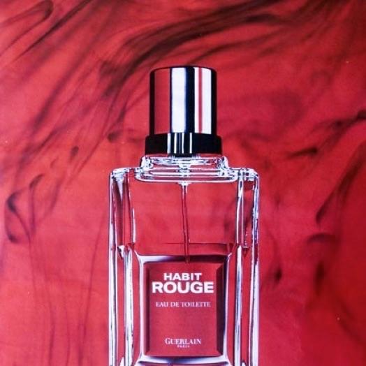 Affiche vintage du parfum Habit Rouge de Guerlain
