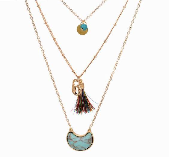 Collier Multi Rangs Turquoise La Parisienne Bijoux
