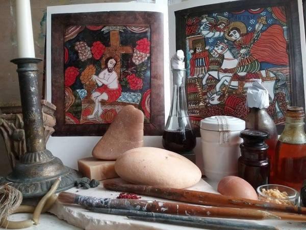 Pictura icoanei pe sticla