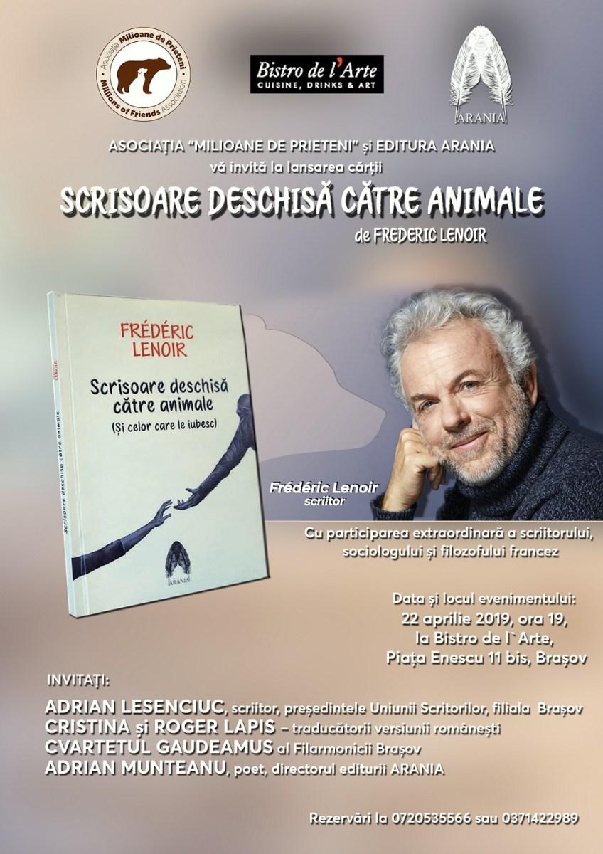 Adrian Munteanu, prefață la întâlnirea cu scriitorul Frederic Lenoir