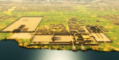 Ville Egyptienne le long du Nil