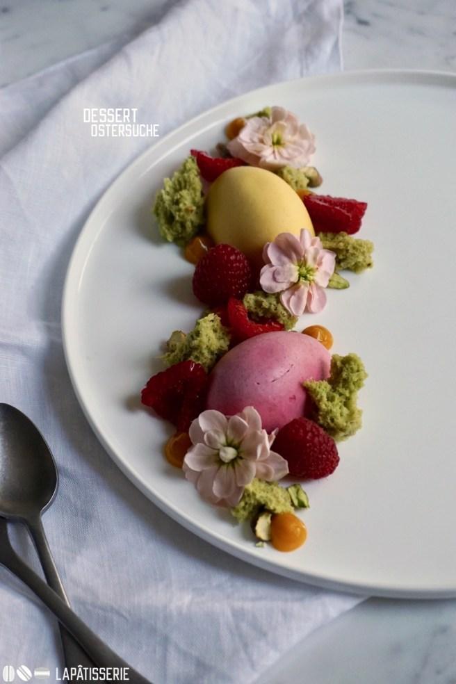 Dessert zu Ostern mit Mango, Himbeere und Pistazie.