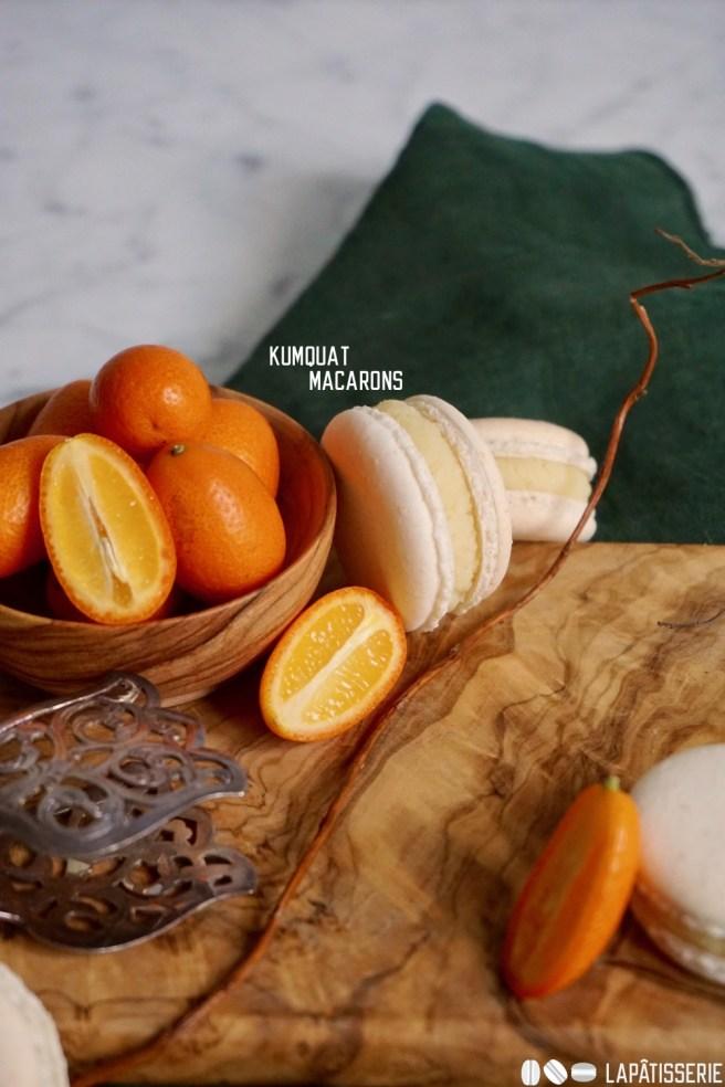 Feinste Macarons für den Winter mit Honigfüllung und kandierten Kumquats.