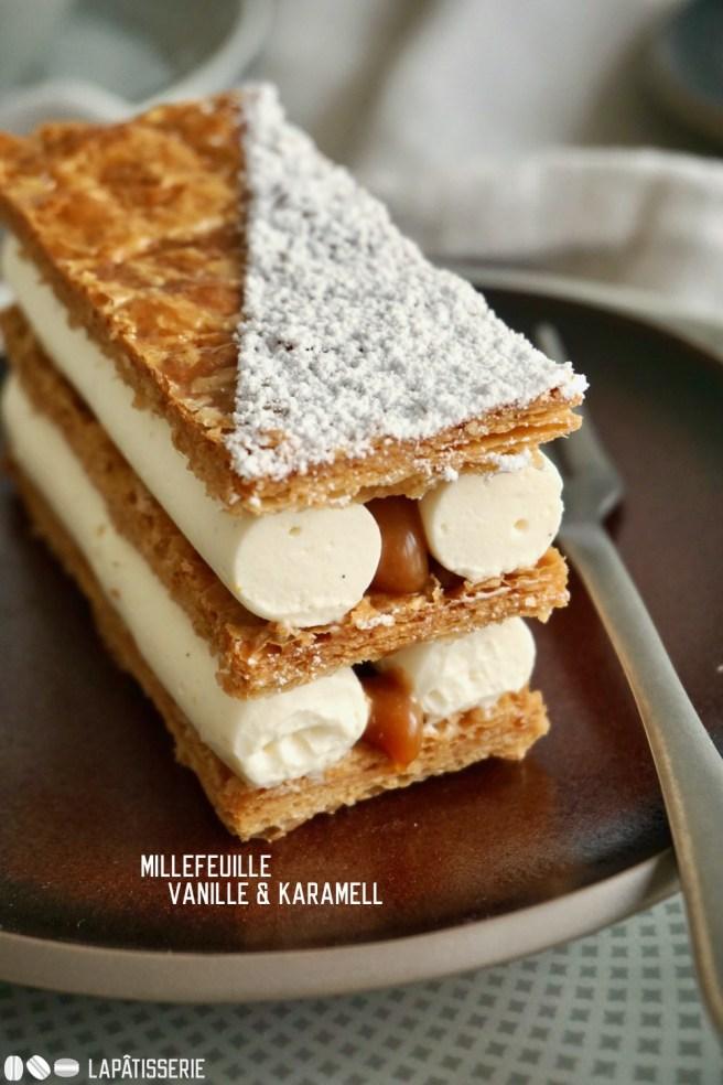 Millefeuille: Feiner karamellisierter Blätterteig gefüllt mit Vanillecreme und Karamell