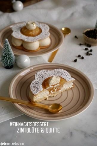 Blumiges Weihnachtsdessert mit feiner Mascarpone-Mousse mit Zimtblüte und fruchtig-herbem Kompott von Quitte