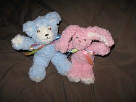 Tiny blue bear and tiny pink bunny