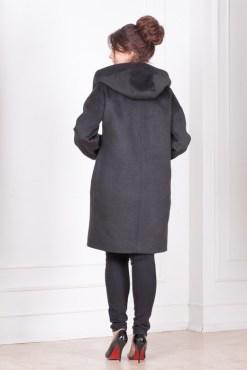 Пальто женское с капюшоном Амина сзади