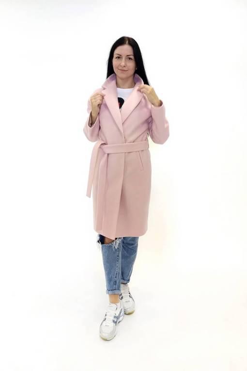 Шерстяное розовое пальто Есения с поясом
