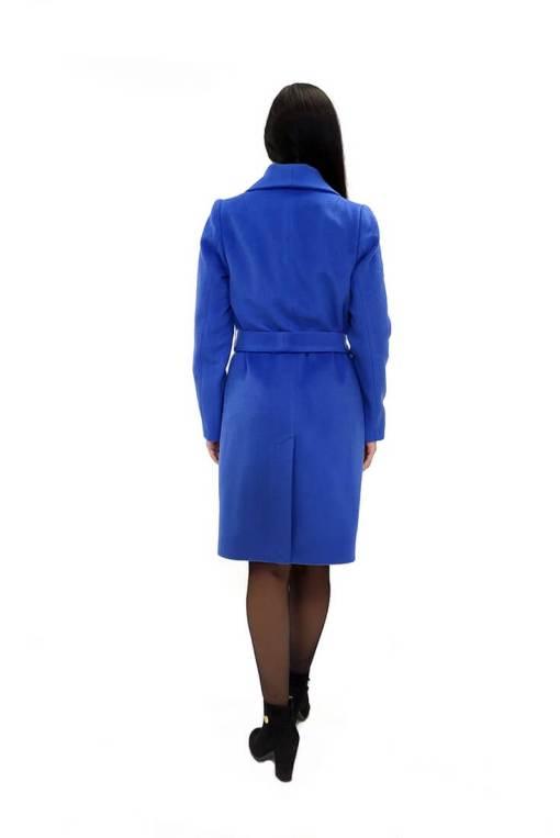 Женское шерстяное голубое пальто Юстина сзади