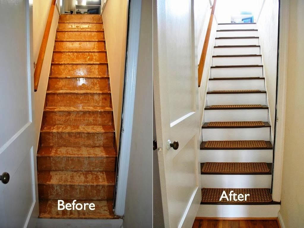 Laminate Stair Treads Before After Royals Courage Easy Methods   Carpet Treads For Steps   Oak   Double Thickness Tread   Textured   Anti Slip   Creative