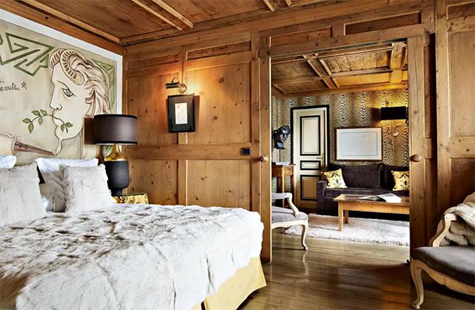 chambre de l'hôtel mont blanc à megeve