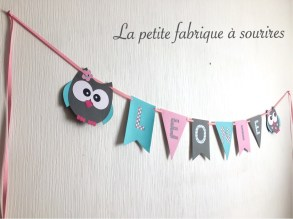 Guirlande prénom super chouette Léonie ©Lapetitefabriqueasourires