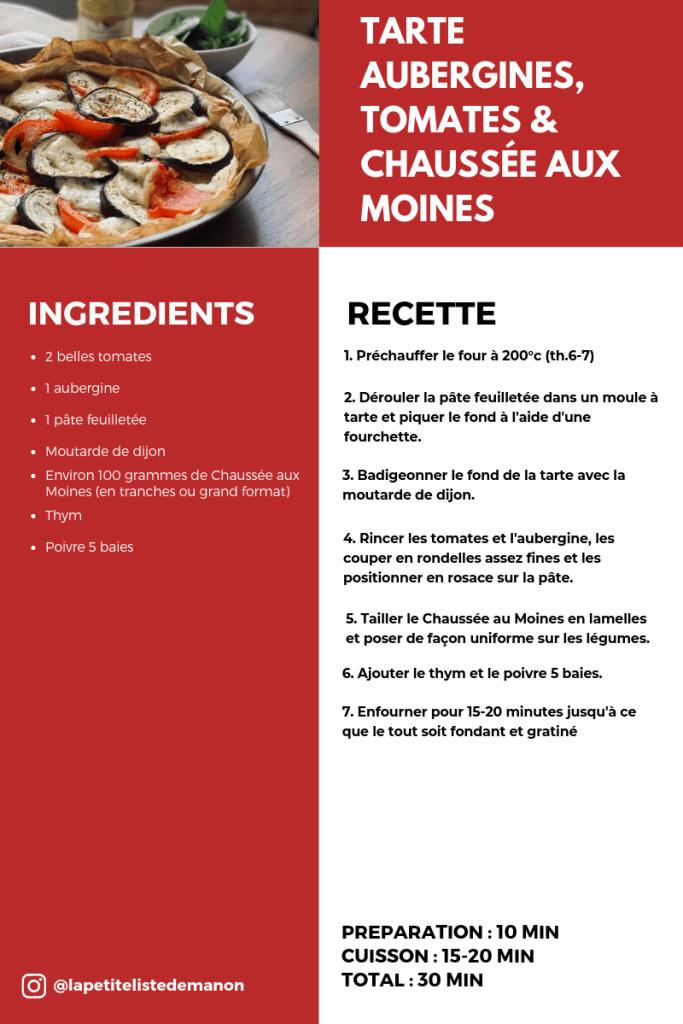 Recette tarte aubergines, tomates & chaussées aux moines