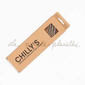 Chillys Bottle Pajitas Acero Inoxidable + limpiador