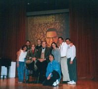 "Musical directing Allan Sherman musical ""Hello Mudduh, Hello Faddah"" (L to R:) Karen Needle, Don Lucas, Jane Meadows, John Sawoski, Steve Allen, Rob Krausz, the late Leslie Klein, Jim Doughan, Paul Kreppel."