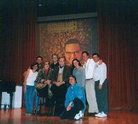 "Musical directing Allan Sherman musical ""Hello Mudduh, Hello Faddah"" (L to R:) Karen Needle, Don Lucas, Jane Meadows, John Sawoski, Steve Allen, Rob Krausz, the late Leslie Klein, Jim Doughan, Paul Kreppel."