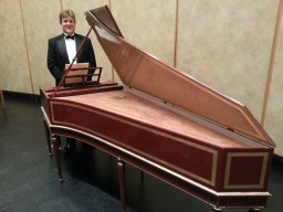 Next to harpsichord after concert with Santa Barbara Chamber Orchestra, November 27, 2012.