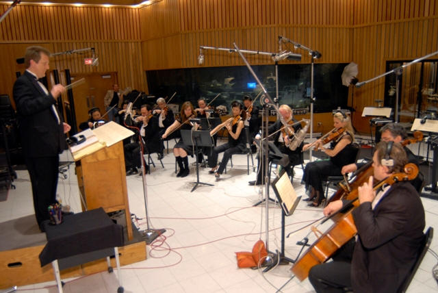 Conducting a string section at Capitol Studios.