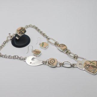 Juego de Collar Arete y Anillo de Cerámica Mata Ortíz Plata .950 Set/CAACMOP/001