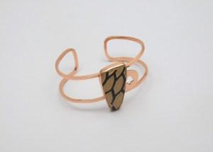 Brazalete realizado en cobre y cerámica Mata Ortiz. Pídalo con la clave BCMOC/007. PIEZA ÚNICA.
